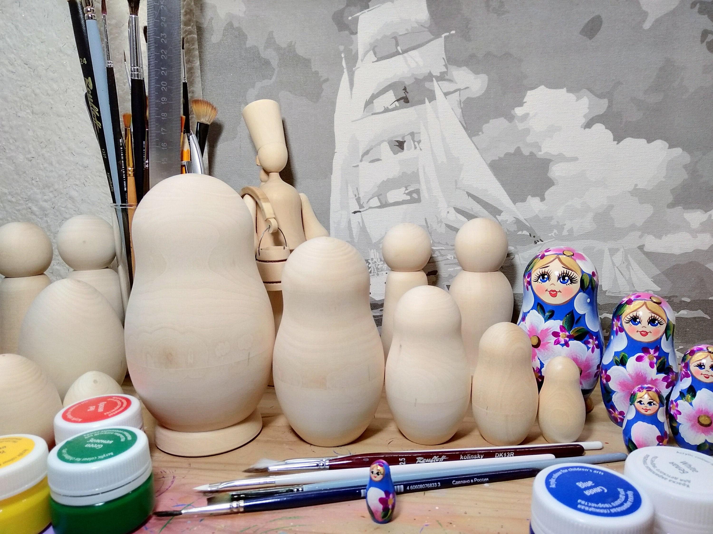 "Set Of 5 Large Unpainted Wooden Blank Nesting Doll 8"" Russian Matryoshka"