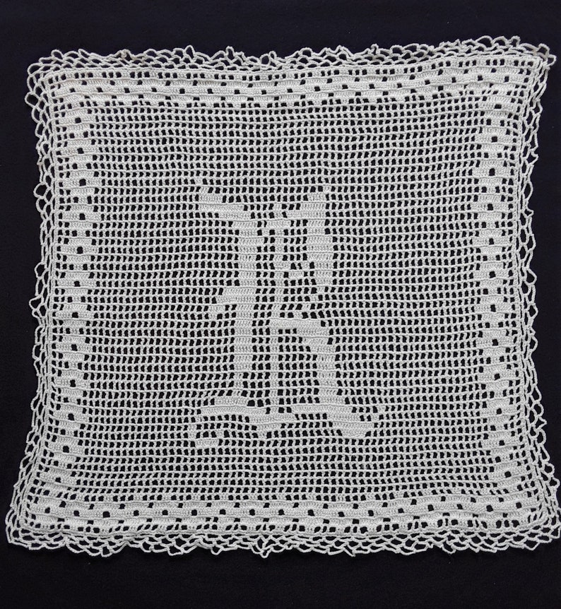 Set of 2 Matching AntiqueVintage 10 and 13 Monogramed B Square Hand Crocheted Cotton DoiliesDresser ScarfFurniture Protector