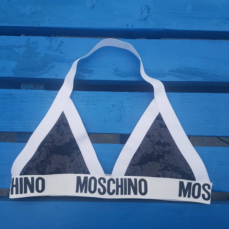 ec5c0d0cd6a07 Reworked moschino crop top handmade moschino bralette bralet