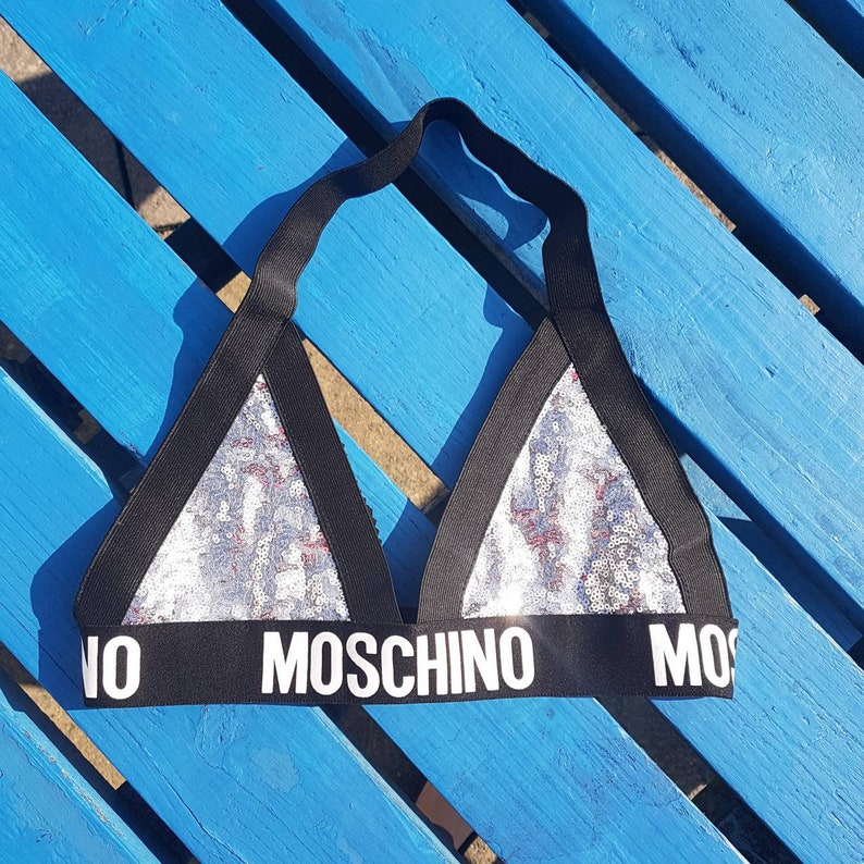 2a3017d61686a Reworked Silver Sequined Moschino Inspired triangular bralette