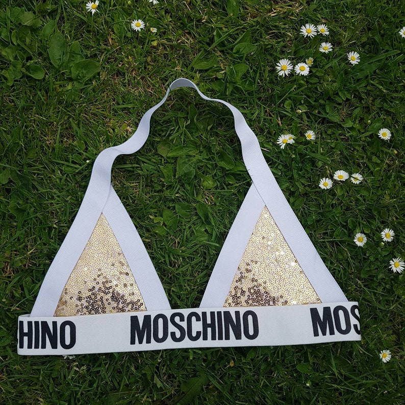 c13e7d424397b Reworked Moschino Inspired triangular bralette gold sequins