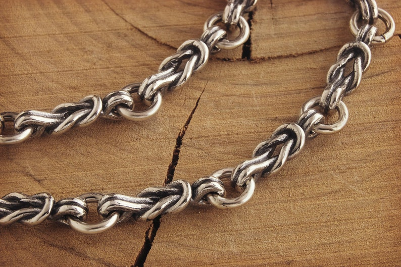 Gift For Him and Her Solid Silver Keychain 925 Oxidized Sterling Silver Solid Silver Knots Wallet Chain Woven Wire Links Thick Chain