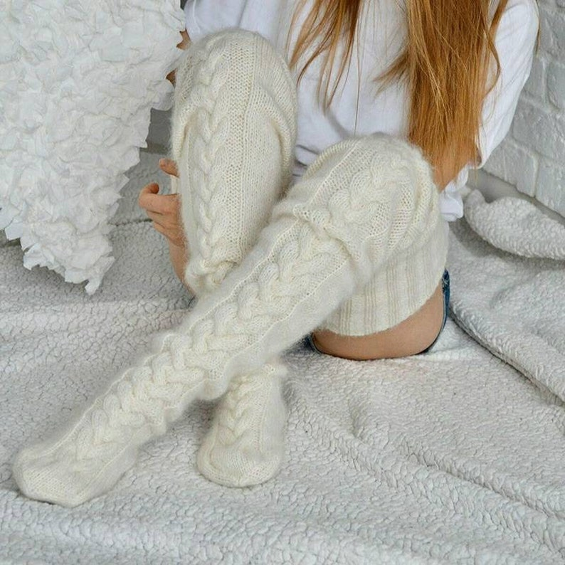 Leg warmers, thigh high socks over the knee