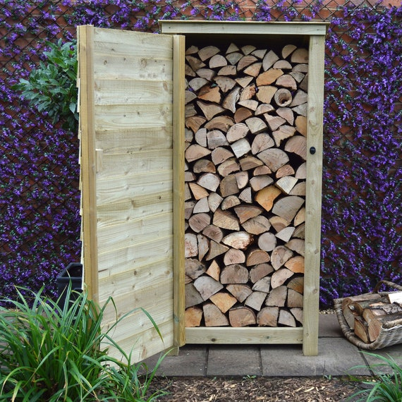 Greetham 6ft Outdoor Wooden Log Store UK HAND MADE Reversed Roof