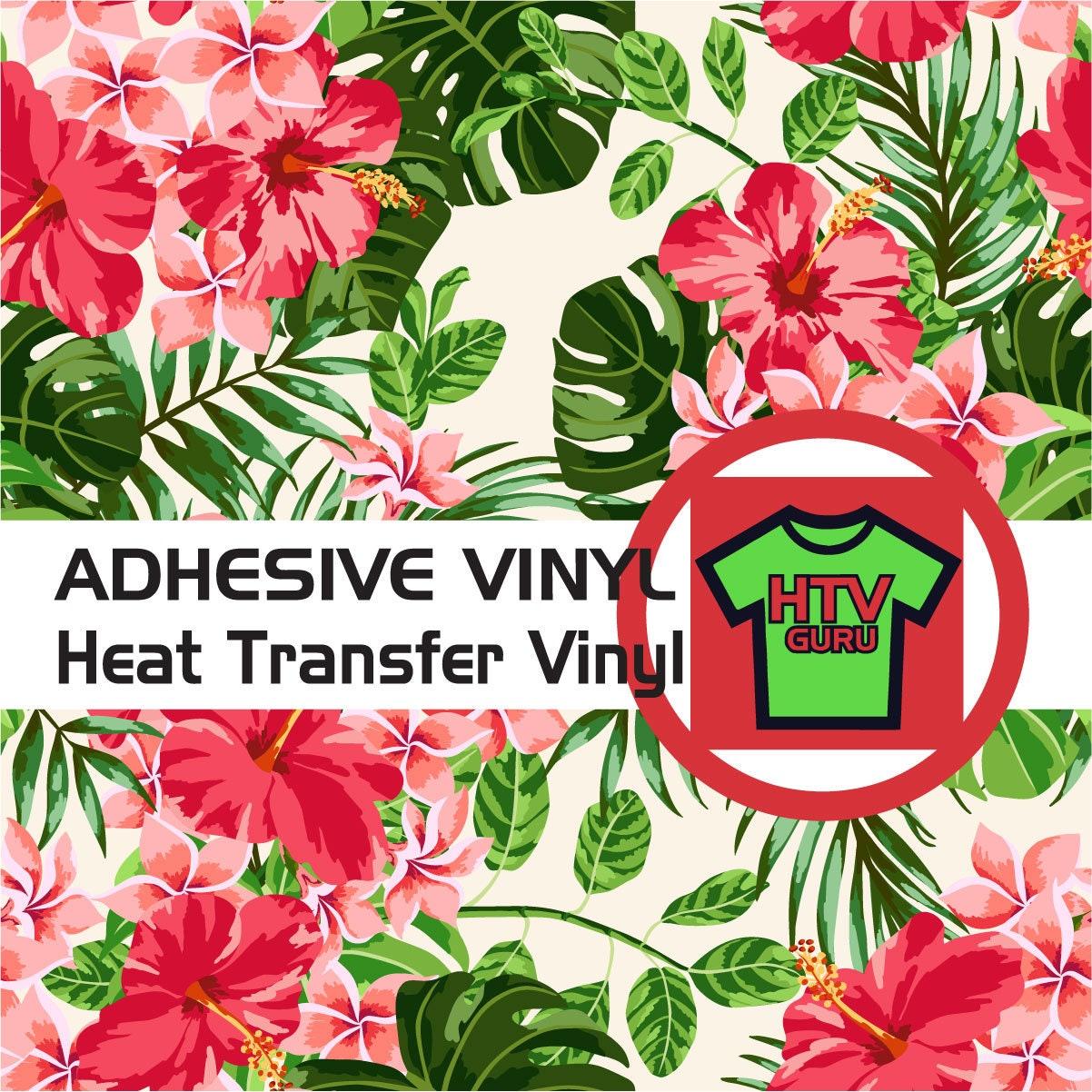 Oracal Adhesive Vinyl L132 Glitter HTV Tropical Floral Flower Printed Vinyl Patterned Iron on Vinyl Siser Heat Transfer Vinyl