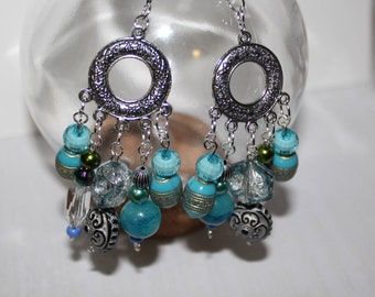 Statement Turquoise Chandelier Circle Boho Earrings // Gifts for Hippies // Indie Gifts