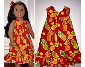 """ce56177d20fd1 18"""" Doll Clothes/Pineapples Doll Dress/Hawaiian Muu Muu Doll Dress/18"""" Doll  Dress/Nanea Doll Dress/Kanani Doll Dress/18 inch Doll Clothes"""