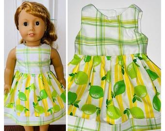 Summer Doll Dress Lemons Denim Denim Doll Sundress Lemon Doll Dress Handmade Doll Clothes 18 Doll Denim Dress Denim Doll Dress