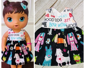Baby 12 inch Alive doll shorts pink with dogs on them