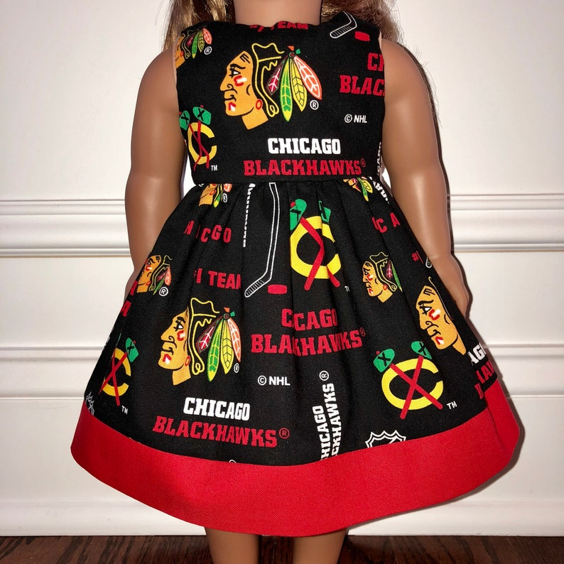 """check out 25cdb 3e9d0 18"""" Doll Clothes/Chicago Blackhawks Dress/18"""" Doll Dress/Hockey Doll  Dress/18 inch Doll Clothes/18 inch Doll Dress/Chicago Blackhawks"""