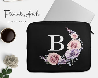 Monogram Floral Laptop Sleeve for MacBook Air MacBook Pro PC 10 13 14 15 inch Personalized Gift Graduation Gift Teacher Gift Back to School