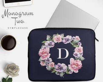 Laptop Sleeve MacBook Pro Case Floral Monogram  MacBook Air Case Women Laptop Bag 13 15 17 Inches in Navy Blue Personalized Gift Friend