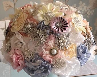 Handmade Fabric & Brooch Bouquet