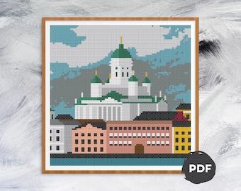 Pattern: Helsinki harbour modern cross stitch pattern
