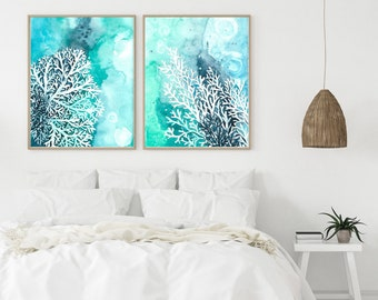 White Coral Reef Set of 2 Prints, Sea Coral Reef Wall Art, Underwater Art, Watercolor painting, beach, coastal, Bathroom Decor