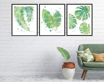 Palm, banana & monstera leaf Set of 3 Prints, tropical wall art, monstera deliciosa leaf print, coastal tropical decor, summerhouse decor