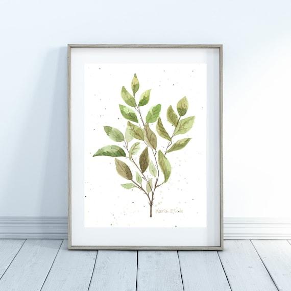Green leaf watercolour, green leaves, art print, wall art, green watercolor art, plants decor, plants wall decor, plant wall art, art print