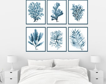 Navy Blue Coral Set of 6 Print, Set of navy blue art print, Seaweed Wall Art, Ocean, Coastal, Beach,  Bathroom Decor