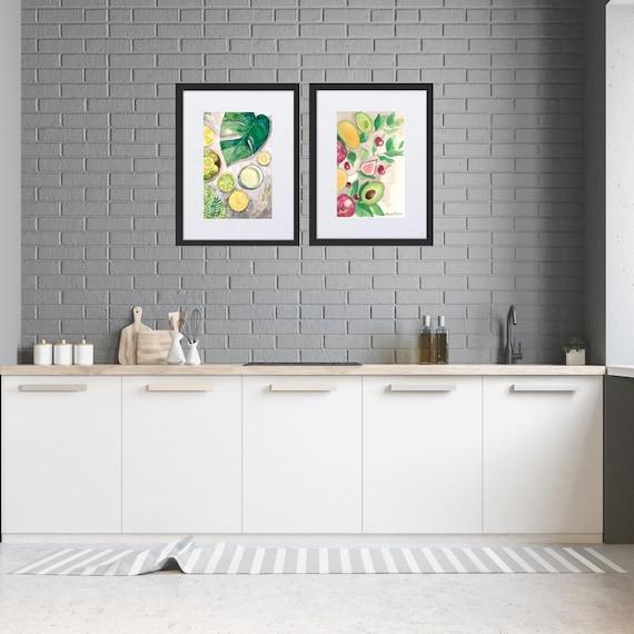 Framed - Monstera Leaf wall art, tropical leaf Art Print, lemon wall art, green leaf art print, green plant decor,  kitchen decor