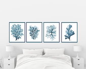 Navy Blue Coral set of 4 print, Seaweed Wall Art, Nautical, Coastal, Beach, Ocean,  Bathroom Decor