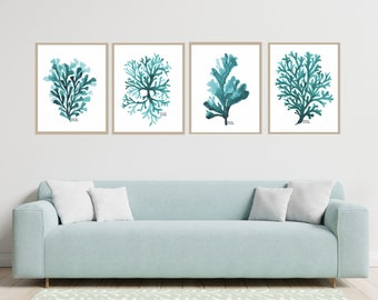 Teal Coral and Seaweed set of 4 print, Set of turquoise art print, Seaweed Wall Art, Coastal, Beach, Ocean,  Bathroom Decor