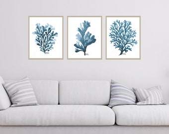 Navy Blue Coral set of 3 print, Set of navy blue art print, Seaweed Wall Art, Coastal, Beach, Ocean, Bathroom Decor