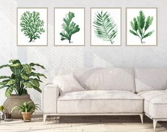 Green Tropical Leaf set of 4 Botanical Watercolor print, palm tree wall art, sea plants, seaweed, coastal decor, outdoor wall art