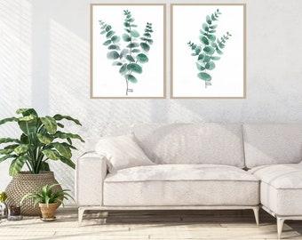 Eucalyptus Set of 2 print, watercolor botanical wall art, green leaf print, green plants wall art, interior design