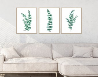Eucalyptus Set of 3 print, botanical wall art, watercolor green leaf print, green plants wall art, interior design, wall decor