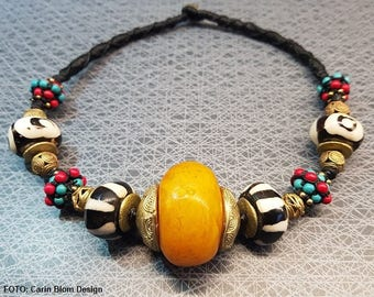 African copal amber batik bone brass beads macrame turquoise necklace