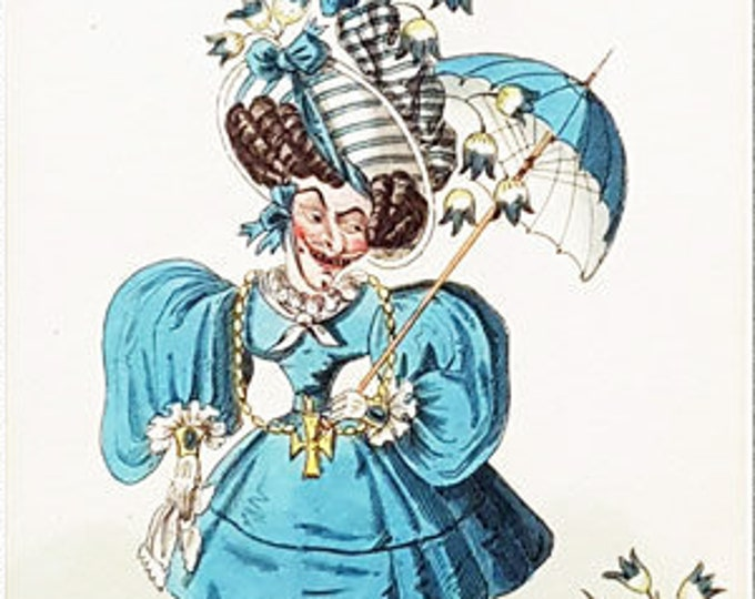 My own Blue-bell, hand coloured copper engraved caricature