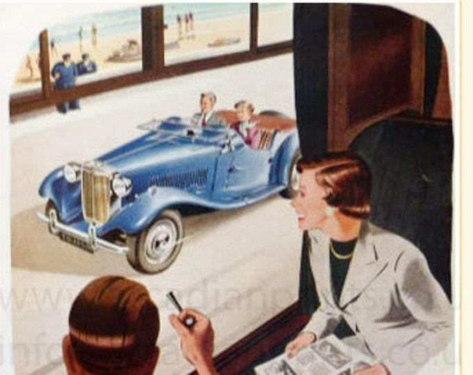 Vintage advertising print: MG Midget car