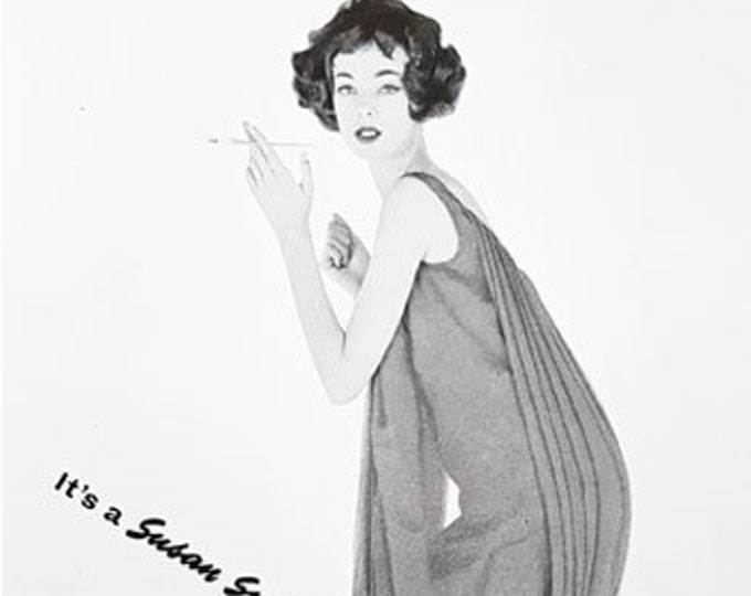 Vintage fashion print from Harper's Bazaar, Susan Small dress