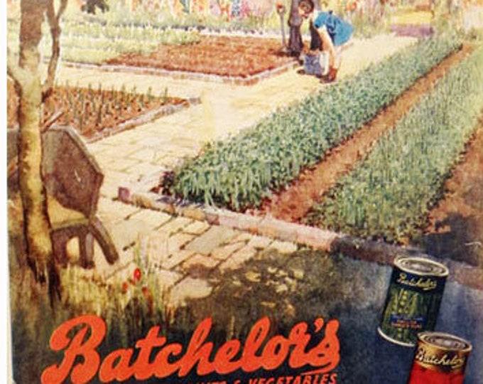 Vintage advertising print: Batchelors canned vegetables, during wartime