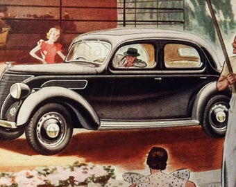Vintage advertising print: Ford V-8  car