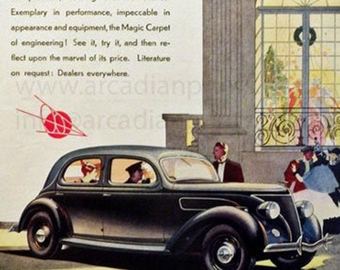 Vintage advertising print: Ford V-8 car, Christmas ad
