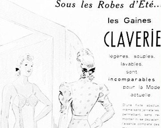 French vintage ad for Claverie underwear