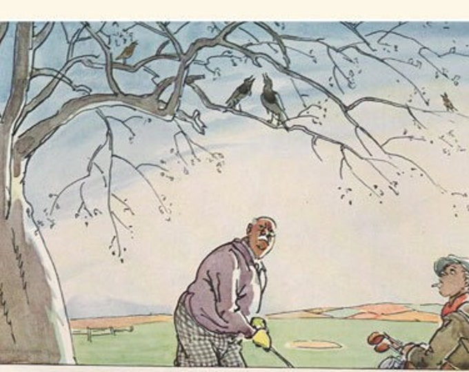 Vintage Punch golfing cartoon, illustrated by Frank Reynolds, 2 prints