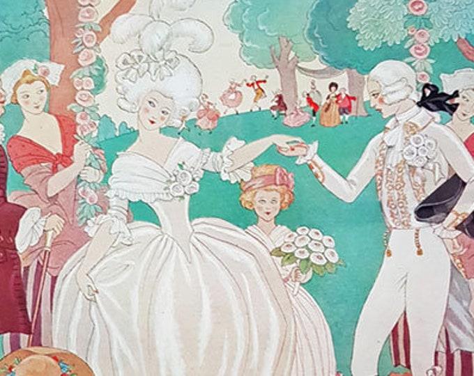 Vintage romantic print: The Bride and Bridegroom, illustrated by George Barbier