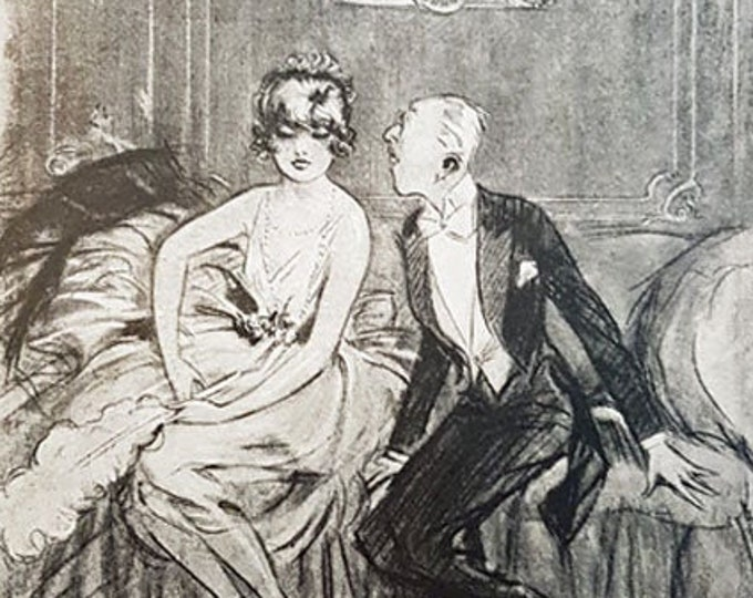 """Vintage romantic print: """"The Proposal"""" from Pan Magazine"""