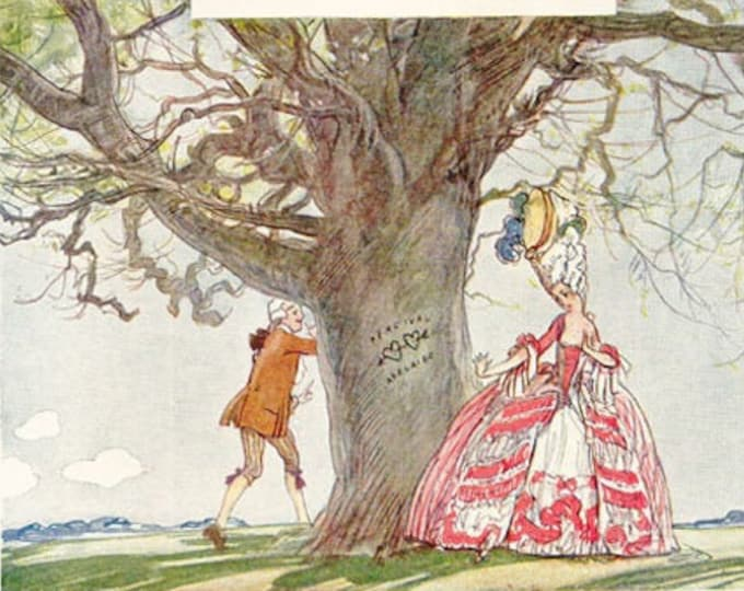 Vintage Punch romantic cartoon, illustrated by E H Shepard