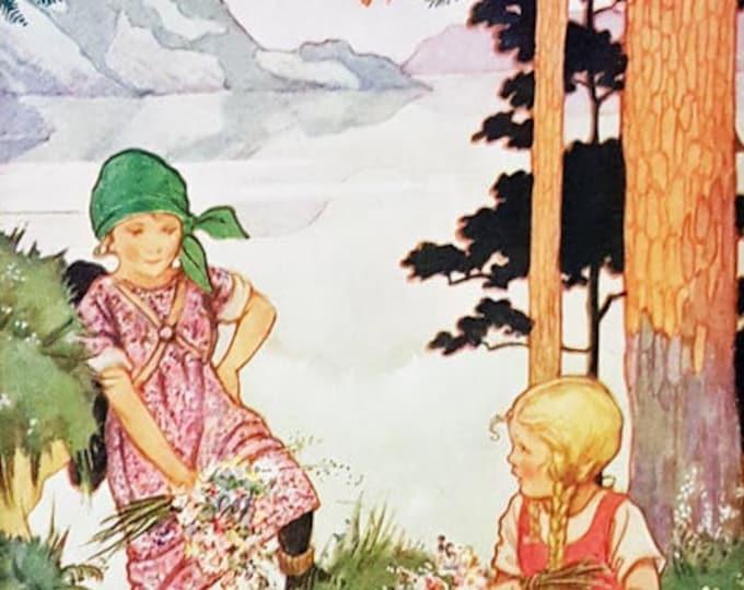 """Vintage children's print, """"Mountain Maidens"""""""