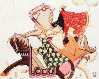 "Vintage Christmas print, ""Riding to Bethlehem"""