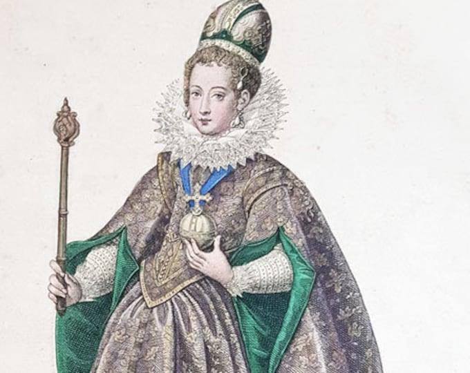 Hand-coloured aquatint of Princess Eleonor
