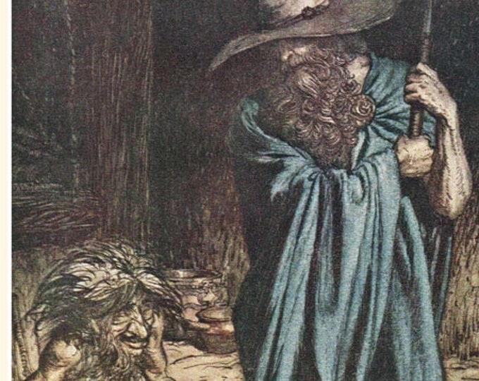 Vintage Arthur Rackham print from Wagner's Siegfried