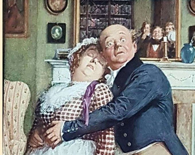 Vintage print: Mr Pickwick undergoes a trying experience, from The Pickwick Papers by Charles Dickens.