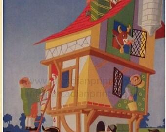 Vintage children's print, illustrated by Hulme Beaman