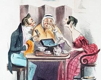 Rare hand coloured stone lithograph