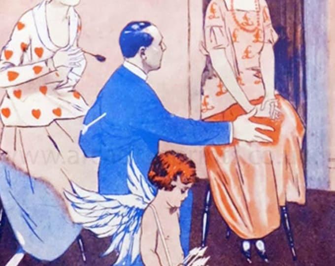 "Vintage humorous art deco print from Pan Magazine: ""Cash versus Cupid"