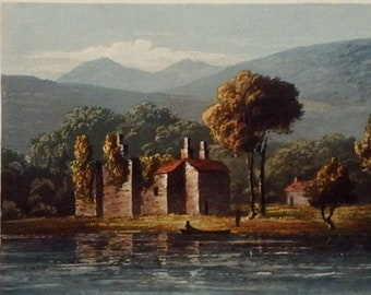 Coniston Old Hall, copper engraving by Thomas Fielding RA